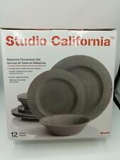 Studio California Mauna 12 Piece Heavyweight Melamine Dinnerware Set, Gray