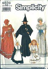 Simplicity Costume Pattern 9809 Witch Angel Pilgrim Pioneer Child Size BB 2-12