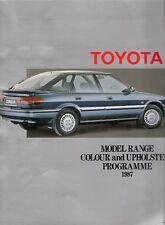 Toyota Colour & Trim 1987 UK Brochure Starlet Corolla MR2 Carina Camry Celica