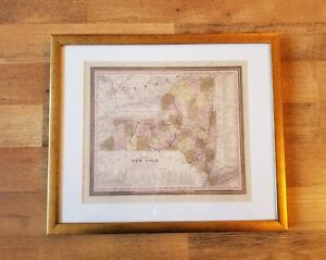 """Antique 1840 """"A NEW MAP OF NEW YORK"""" H.S. TANNER CANALS, ROADS, AND DISTANCES"""