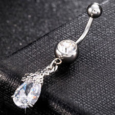 Silver Clear Crystal Belly Button Ring Navel Piercing Bar Stainless Steel Dangle