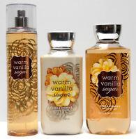 3pc Set Bath and Body Works WARM VANILLA SUGAR Fragrance Mist Lotion Shower Gel