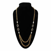 1960s Mod Clear White Gold Tone Beaded Chain Multi Layer Necklace 33""