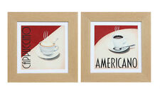 Cafe Americano And Cappuccino 30cm Framed Prints. 2 Per Set!!