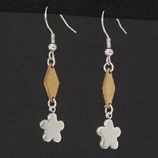 Titan Titanium Ohrringe Ohrhänger Kreolen Blumen bicolor Gelbgold Paar Damen 2