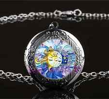 Sun and Moon Face Photo Glass Gun Black Chain Locket Pendant Necklace