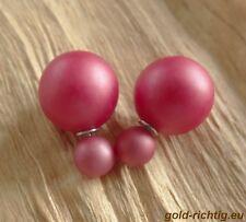 Doppelperlen Ohrstecker rot matt (Ohrringe Perlenohrstecker Perlen Perle) NEU