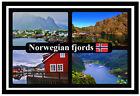 NORWEGIAN FJORDS - SOUVENIR NOVELTY FRIDGE MAGNET - FLAGS / SIGHTS - NEW / GIFTS