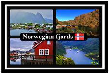Norwegian fjords-souvenir novelty fridge magnet-flags/sites