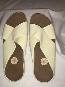 FitFlop Kys Slide/Sandal Cork Wedge Beige Leather Comfort 8 EU 39
