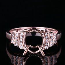 Solid 14K Rose Gold Fancy 7x9mm Oval Cut Semi-mount Engagement Diamond New Ring