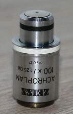 Zeiss Mikroskop Microscope Objektiv Achroplan 100x/1,25 Oil (44 00 80)