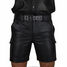 Real leder Cargo shorts Glattes leder Shorts,kurze lederhose,echt leder hose