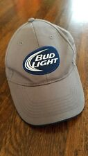 Bud Light Baseball Cap Hat Adjustable Hook and Loop Velcro Gray and Blue Dad cap