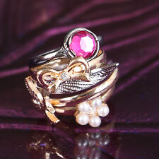 MS-333 5 pièces anneaux bague Lot nœud Noeud Fleur Bijoux fantaisie