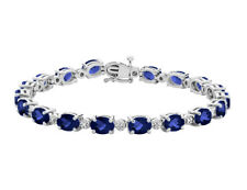 15.80 Carats (ctw) Created Sapphire Bracelet with Diamonds in Sterling Silver