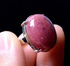 Natural Rose Rhodonite Gemstone Women Cure Ring Adjustable 18.5*13*7.5mm