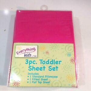 Everything for Kids Dark Pink 3 pc. Sheet Set Toddler By NoJo  5902537 New
