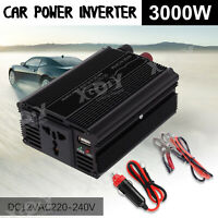 3000W CAR POWER INVERTER 12/24V TO AC 110/220V MODIFID SINE WAVE CONVERTER BLACK