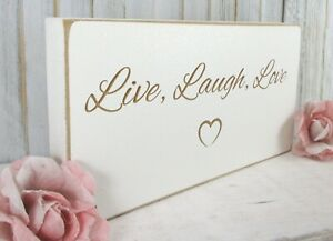 Inspirational Quote Sign Plaque Gift Live Laugh Love Vintage Shabby & Chic