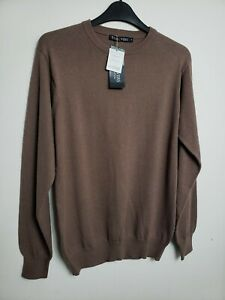 WOOLOVERS MENS JUMPER SWEATER S MOCHA BROWN COTTON & CASHMERE 582