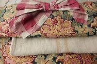 Vintage French fabrics antique material PROJECT BUNDLE blue silk check plaid