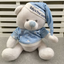 """Cuddles Colection Blue & White Baby's First Christmas Bear Soft Toy 12"""""""