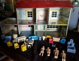 Vintage MARX Tin Metal Litho Red Roof 2 Story Doll House 1960s Furniture & Dolls