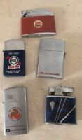 Vintage Mix Lot 5 Zippo Lighters Barlow Penguin Symbol Old Advertising Trucking