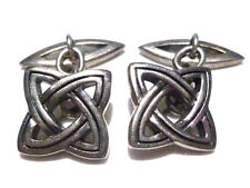 IRISH IRELAND DESIGNER STERLING SILVER CELTIC KNOT UNISEX CUFFLINKS PAIR