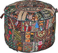 Black Bohemian pouf Ottoman Embroidered Footstool Decorative Tuffet bean bag