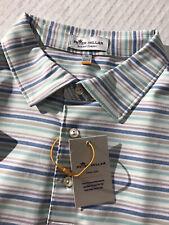 NWT Peter Millar Crown Sport Summer Comfort Polo Golf Shirt XL White Blue Stripe