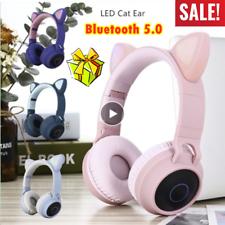 Bluetooth Estéreo Auriculares Niños Gato 5.0 Juegos intermitente brillante de micrófono