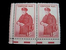 Pair of 15 cent US Certified Mail stamp Scott FA1 - MNH - crisp!  Free Ship US