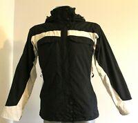 COLUMBIA OMNI TECH Ski Jacket Hooded Waterproof Breathable White Black Womens S