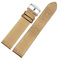New 17mm 19mm Gold Brown Silk Satin Leather Women Men Unisex Watch Strap Band