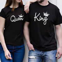 King And Queen T-shirts Couple Matching Cute Love Shirt Gift Hubby Wifey T-shirt