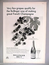 Bollinger Brut Champagne PRINT AD - 1967