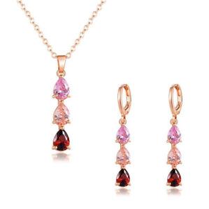 Jewelry Sets Teardrop Real Garnet Morganite Topaz Rose Gold Necklaces Earrings
