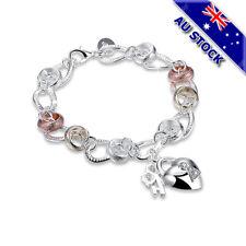 Lovely 925 Sterling Silver Filled Ring Heart Padlock Lock Pendant Charm Bracelet
