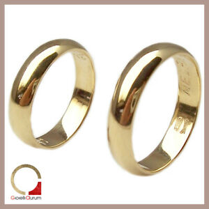 Anelli nuziali per matrimonio in oro giallo o bianco 5 mm fedi anello coppia 2 p