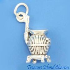 POTBELLIED POTBELLY WOOD STOVE 3D .925 Solid Sterling Silver Charm POT BELLY