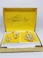 Gifts for Her: Camelot Vintage Jewelry Brooch & Clip Earring Set Original Box