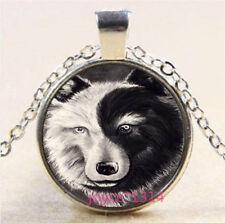 Yin Yang Wolf Cabochon Tibetan silver Glass Chain Pendant Necklace #3780