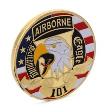 US United States 101st Airborne Division Gold Plated Coin