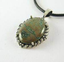Green Turquoise Pendant Necklace .925 Sterling Silver USA Made Adjustable Cord