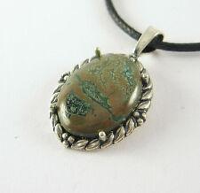 Verde Turquesa Collar con colgante .925 Plata de Ley Hecho en USA cordón