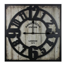 Metal Wall Clock Rustic Appeal Stunning Wooden
