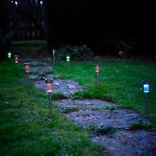 Vinsani 10 X Colour Change Stainless Steel Solar Powered Stick Post LED Lights