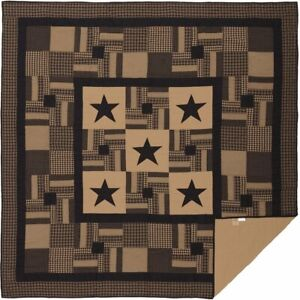 COUNTRY PRIMITIVE FARMHOUSE RUSTIC BLACK CHECK STAR QUILT COLLECTION